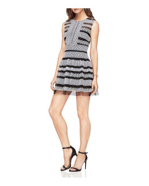 BCBGMAXAZRIA | Black Embroidered Lace Dress | Lyst