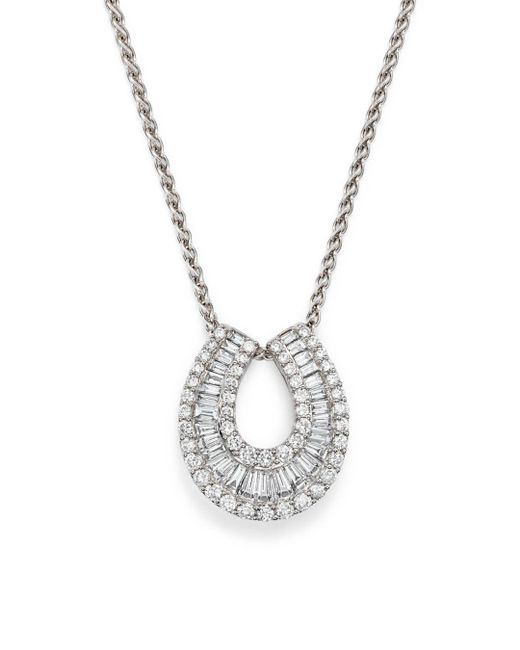 Bloomingdale's - Diamond Round And Baguette Horseshoe Pendant Necklace In 14k White Gold, 2.0 Ct. T.w. - Lyst