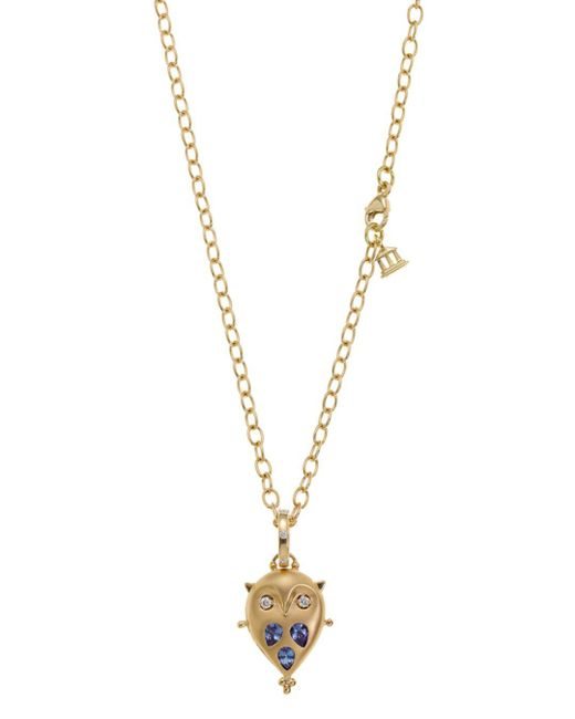 Temple St. Clair - Blue 18k Gold Small Owl Locket With Tanzanite And Diamonds - Lyst