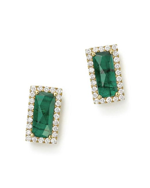 Meira T - Green 14k Yellow Gold Emerald Rectangle Stud Earrings With Diamonds - Lyst