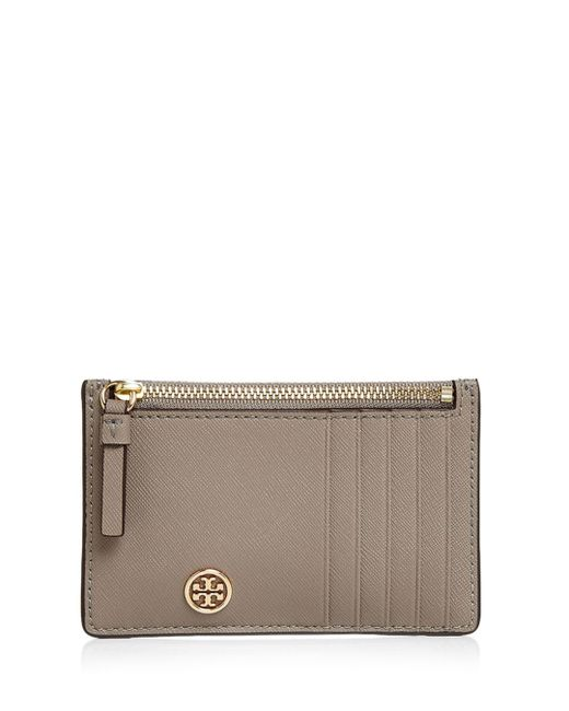 Tory Burch - Multicolor Robinson Zip Leather Slim Card Case - Lyst