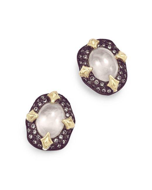Armenta - Metallic 18k Yellow Gold & Blackened Sterling Silver Old World Aquaprase & Champagne Diamond Bezel Stud Earrings - Lyst
