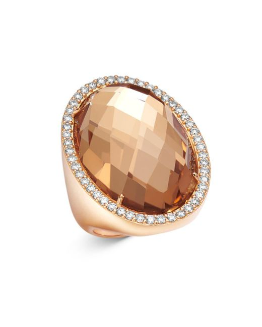Roberto Coin Metallic 18k Rose Gold Rock Crystal Cocktail Ring With Diamonds