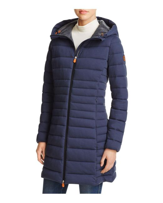 Save The Duck   Blue Angy Long Puffer Coat - 100% Bloomingdale's Exclusive   Lyst