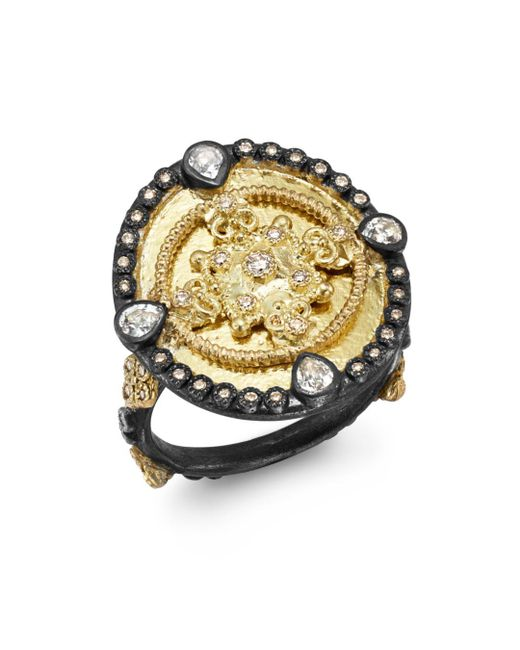 Armenta - Metallic 18k Yellow Gold & Blackened Sterling Silver Old World Diamond & White Sapphire Heraldry Ring - Lyst
