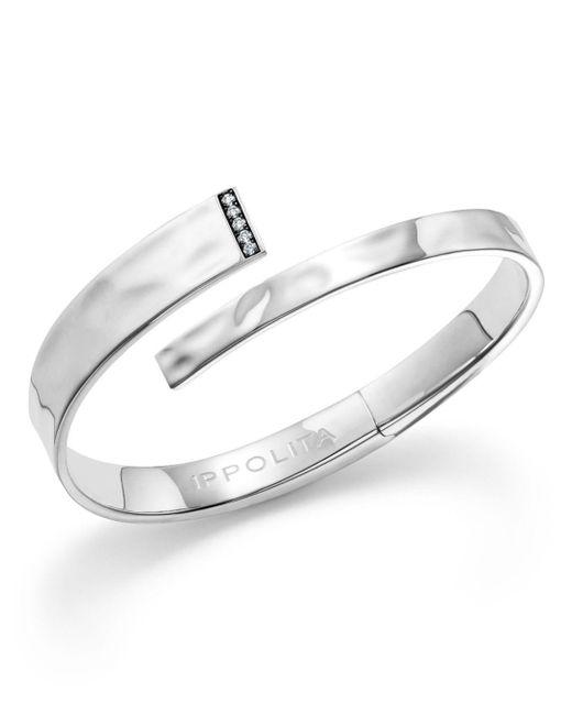 Ippolita - Metallic Sterling Silver Sensotm Textured Bypass Cuff With Diamonds - Lyst