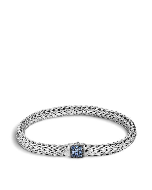 John Hardy - Classic Chain Sterling Silver Lava Small Bracelet With Blue Sapphire - Lyst