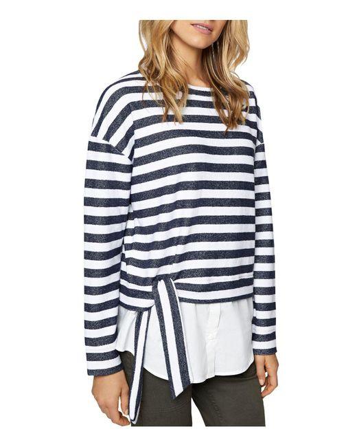 Sanctuary - Blue Ally Poplin-hem Stripe Sweatshirt - Lyst