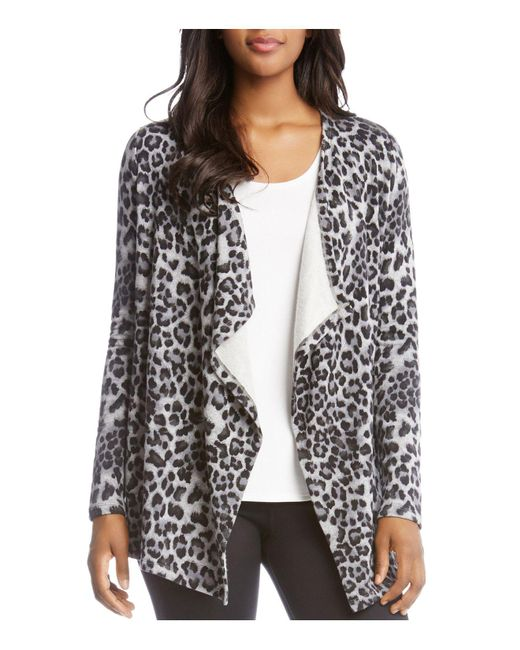 Karen kane Leopard-print Fleece Open Cardigan - Save 40% | Lyst