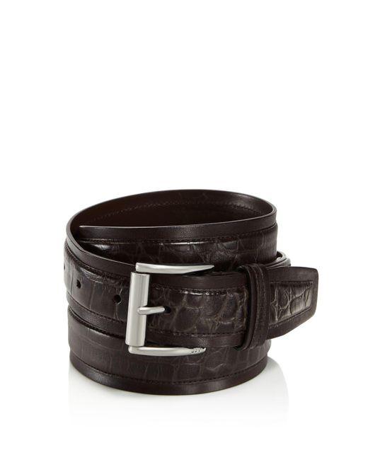 John Varvatos | Brown Croc Embossed Leather Belt for Men | Lyst