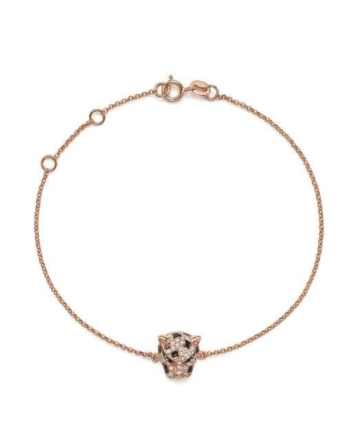 Bloomingdale's - Multicolor Diamond And Tsavorite Panther Bracelet In 14k Rose Gold - Lyst