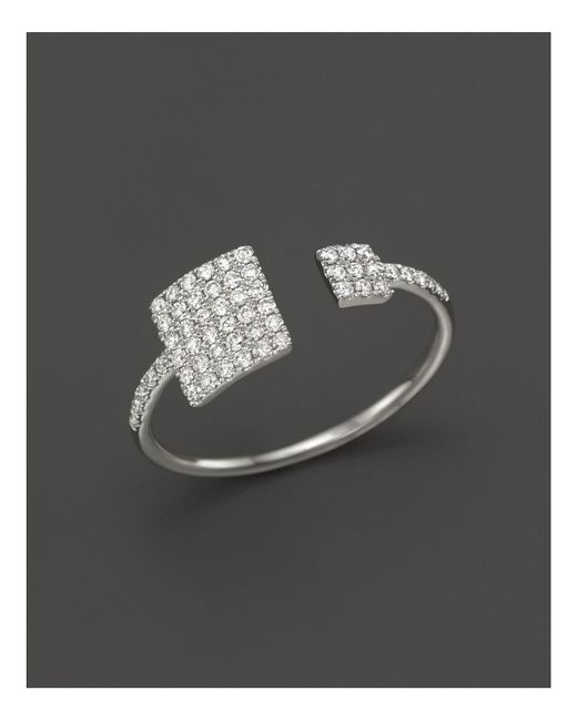Meira T | Metallic 14k White Gold Open Square Ring With Diamonds | Lyst