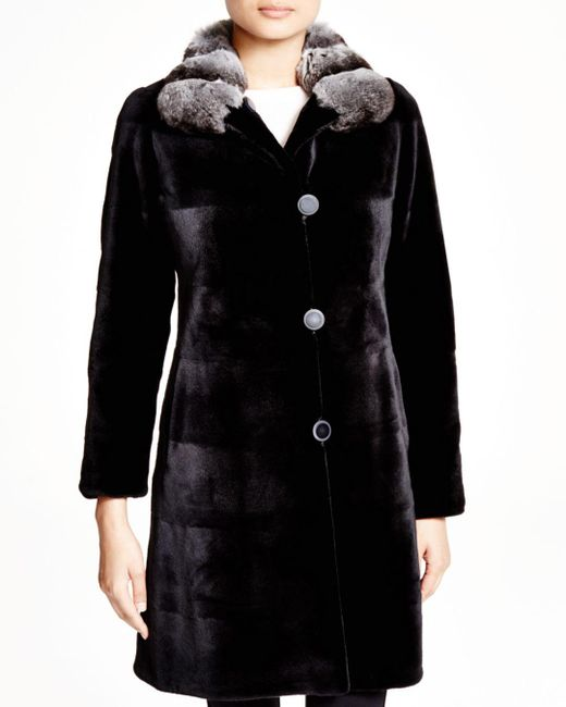 Maximilian - Black Maximilian Sheared Mink Reversible Coat With Chinchilla Collar - Lyst