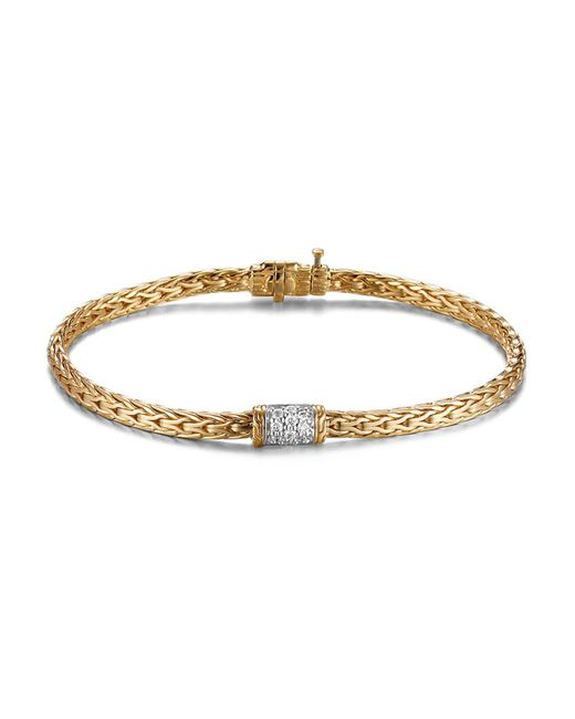John Hardy | Metallic Classic Chain 18k Gold Mini Bracelet With Diamond Pavé | Lyst