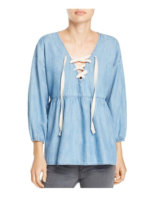 Joie - Blue Bealette Lace-up Chambray Top - Lyst