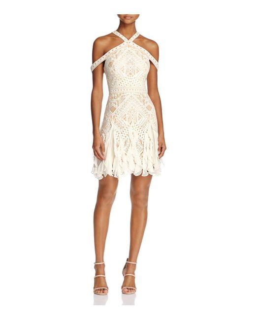 BCBGMAXAZRIA | White Halter Lace Ruffle-hem Dress | Lyst