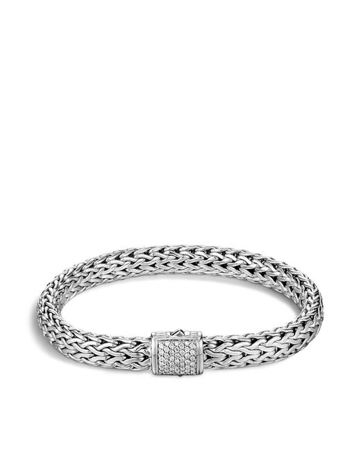 John Hardy - Metallic Classic Chain Sterling Silver Medium Bracelet With Diamond Pavé - Lyst