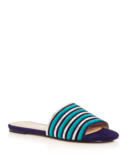 Botkier - Blue Women's Marley Suede Stripe Slide Sandals - Lyst