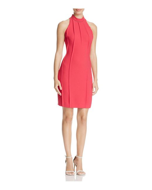 Elie Tahari | Pink Viola Beaded-neck Sheath Dress | Lyst