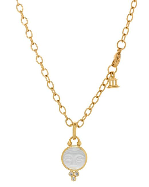Temple St. Clair - White 18k Yellow Gold Moonface Pendant With Carved Rock Crystal And Diamond Granulation - Lyst