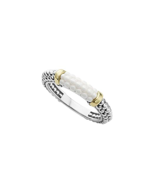 Lagos | 18k Gold And Sterling Silver White Caviar Stacking Ring | Lyst