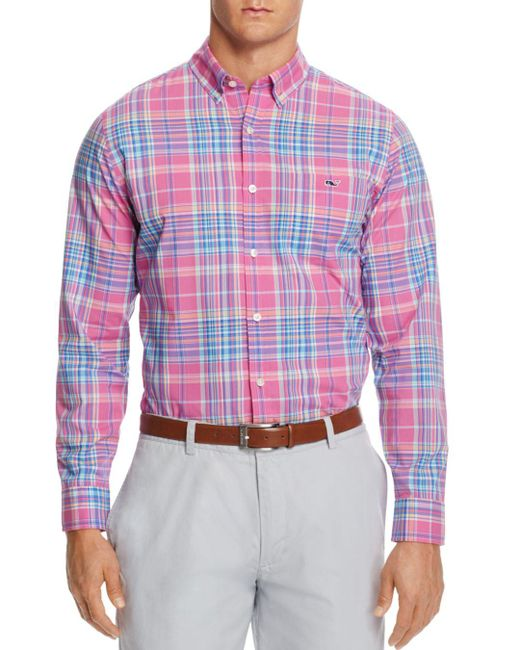 Vineyard Vines - Pink Coral Cliff Plaid Tucker Slim Fit Button-down Shirt for Men - Lyst