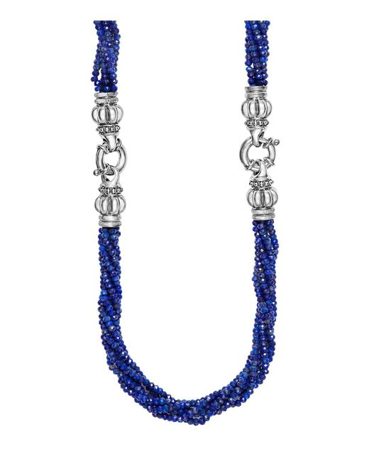 Lagos | Metallic Sterling Silver Caviar Icon Lapis Beaded Multi Strand Convertible Bracelet And Necklace | Lyst