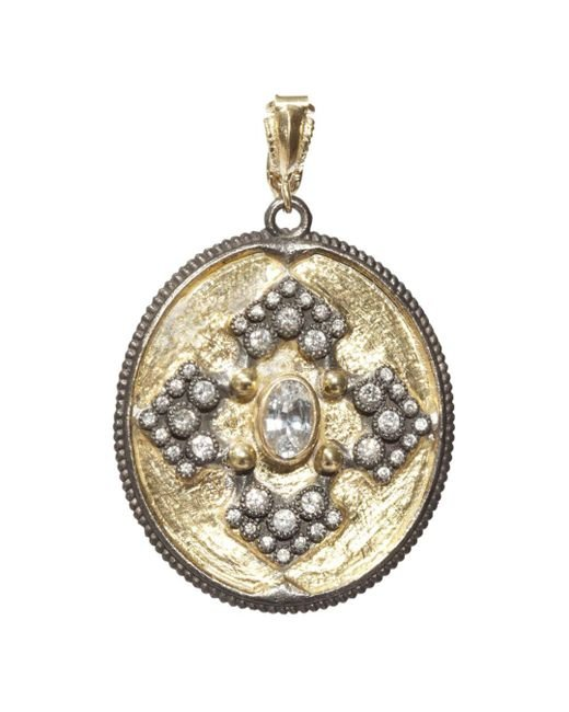 Armenta - Metallic 18k Yellow Gold And Blackened Sterling Silver Old World Midnight Diamond And White Sapphire Oval Pendant - Lyst