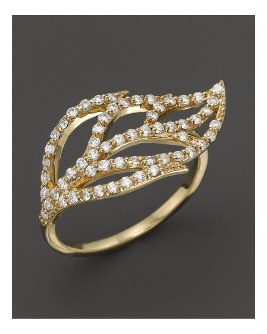KC Designs - Metallic Diamond Leaf Ring In 14k Yellow Gold - Lyst