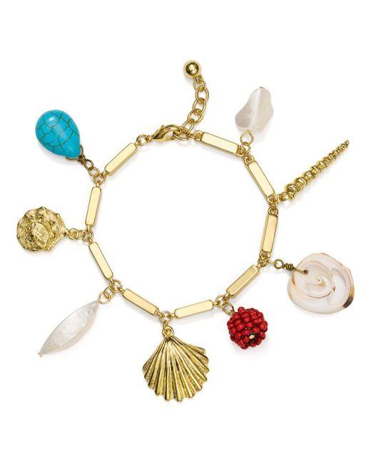 Aqua - Metallic Sea Life Charm Bracelet - Lyst