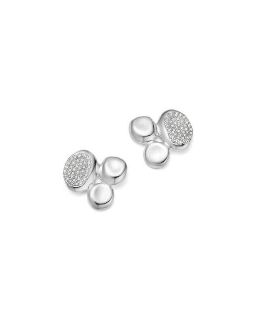 Ippolita - Metallic Sterling Silver Onda Diamond Cluster Stud Earrings - Lyst