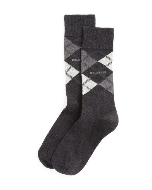 BOSS - Gray Combed Cotton Argyle Socks for Men - Lyst
