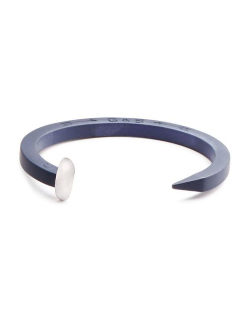 Giles & Brother - Blue Rubberized Railroad Spike Cuff for Men - Lyst