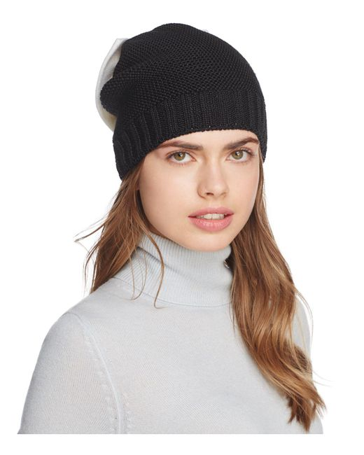 Helene Berman - Black Knit Bow Beanie - Lyst