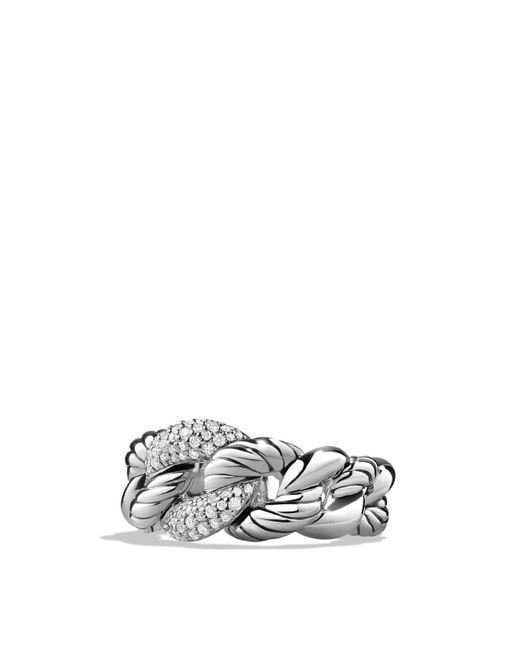 David Yurman | Metallic Belmont Curb Link Ring With Diamonds | Lyst