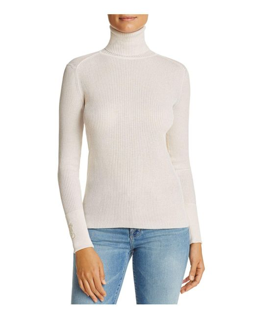 Tory Burch | White Lana Ribbed Turtleneck Sweater | Lyst