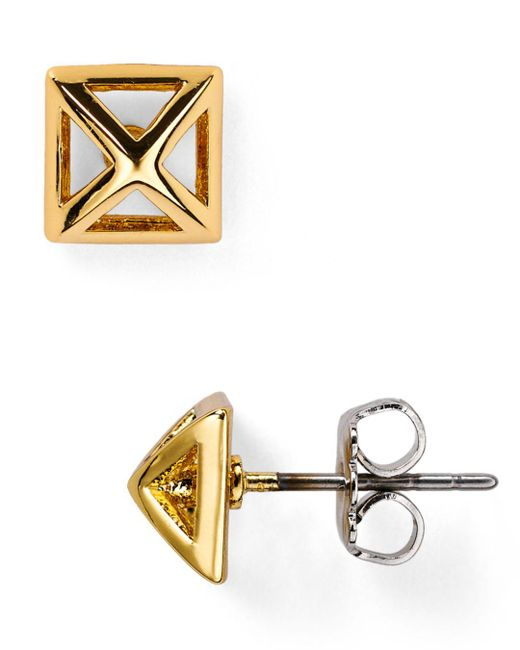 Rebecca Minkoff - Metallic Pyramid Cut-out Stud Earrings - Lyst