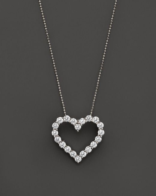 Bloomingdale's - Metallic Diamond Heart Pendant Necklace In 14k White Gold, 3.0 Ct. T.w. - Lyst