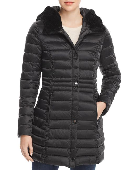 Laundry by Shelli Segal - Black Mercury Puffer Coat With Faux Fur - Trimmed Hood - Lyst