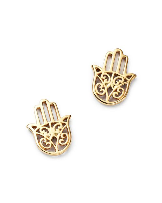 Moon & Meadow - Metallic Hamsa Hand Stud Earrings In 14k Yellow Gold - Lyst