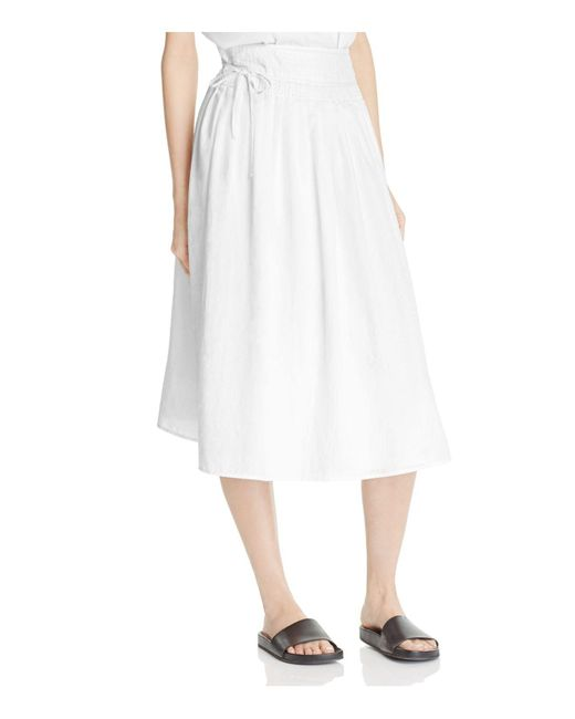 Vince | White Stitch Pleating Wrap Skirt | Lyst