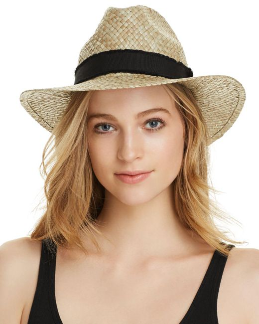 Aqua - Natural Ribbon-trim Straw Fedora - Lyst