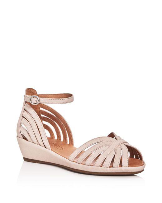 Gentle Souls   Multicolor Leah Metallic Ankle Strap Demi Wedge Sandals   Lyst