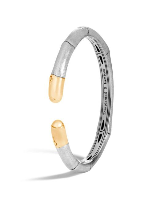 John Hardy - Metallic 18k Yellow Gold And Sterling Silver Bamboo Slim Kick Cuff - Lyst