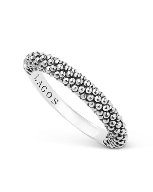 Lagos - Metallic Sterling Silver Caviar Beaded Stacking Ring - Lyst
