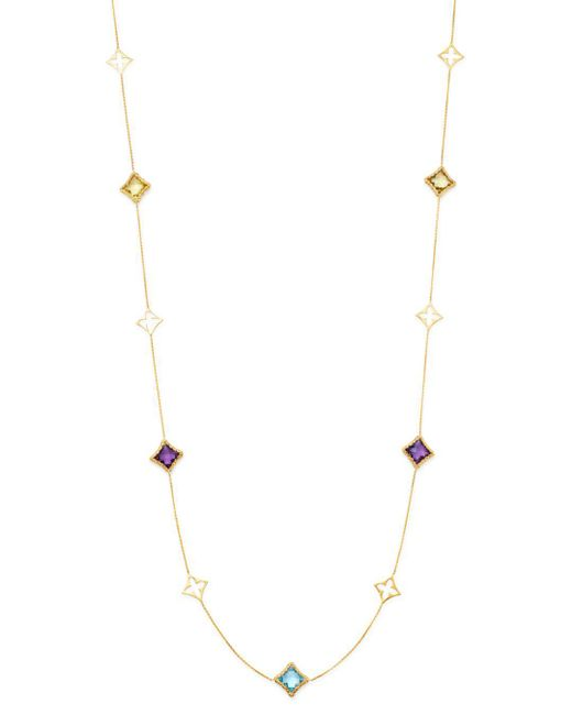Bloomingdale's - Metallic Multicolor Clover Station Necklace In 14k Yellow Gold - Lyst