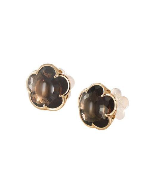 Pasquale Bruni - Metallic 18k Rose Gold Smoky Quartz Floral Stud Earrings - Lyst