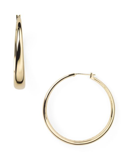 Nadri - Metallic Medium Tapered Hoop Earrings - Lyst