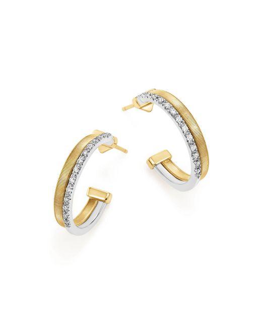 Marco Bicego | Metallic 18k Yellow & White Gold Masai Two Row Pavé Diamond Hoop Earrings | Lyst