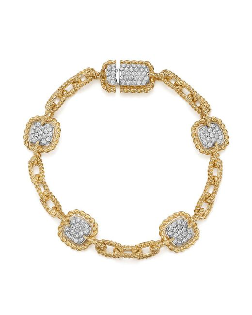 Roberto Coin | Metallic 18k White & Yellow Gold New Barocco Diamond Square Chain Link Bracelet | Lyst